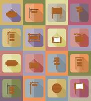 planche de bois icônes plates vector illustration