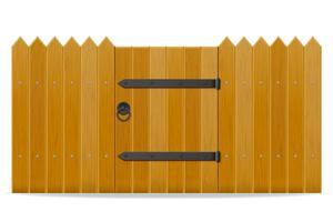 clôture en bois avec illustration vectorielle porte de guichet