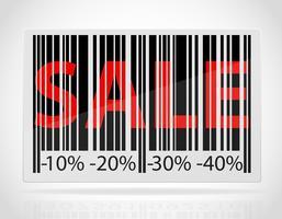 code à barres avec le mot vente et réductions à titre d'illustration vectorielle pourcentage vecteur