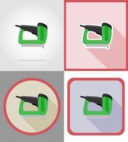 Outils d'agrafeuse électrique pour la construction et la réparation d'icônes plats vector illustration