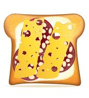 illustration vectorielle de pain beurré saucisse et fromage