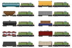 set d'icônes de train avec illustration vectorielle locomotive et wagons