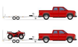 voiture pickup avec illustration vectorielle de remorque