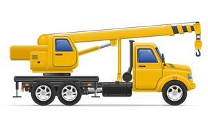 camion de fret avec grue pour soulever des marchandises vector illustration