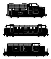 définir des icônes chemin de fer train locomotive noir contour silhouette illustration vectorielle