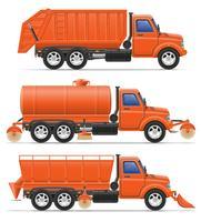 illustration vectorielle de cargaison camions de nettoyage municipal