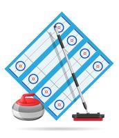 terrain de jeu pour l'illustration vectorielle de curling sport jeu vecteur
