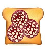 pain grillé avec illustration vectorielle de saucisse vecteur