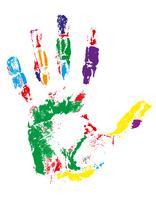 empreinte de la main de différentes couleurs vector illustration