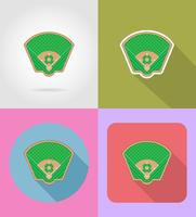 icônes plat terrain de baseball vector illustratio