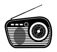 radio vieux rétro icône vintage vector stock illustration contour noir silhouette