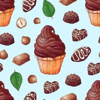 Modèle sans couture de dessin à la main de chocolats cupcakes. Vecteur