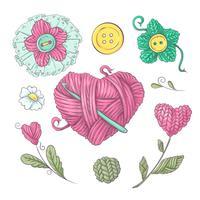 Un ensemble de vêtements tricotés cousus des aiguilles à tricoter. Dessin à main levée. Illustration vectorielle