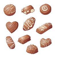 Définir des bonbons au chocolat. Illustration vectorielle Dessin à la main vecteur
