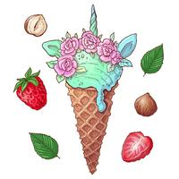 Définissez les noix de la crème glacée aux baies. Illustration vectorielle Dessin à main levée