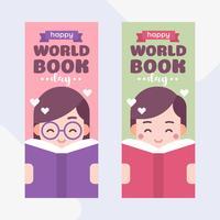 Enfants mignons, lisant un livre. Garçon et fille. Journée mondiale du livre Cartoon Illustration vectorielle