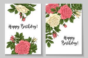 Cadre de roses de corail. Main, dessin d'illustration vectorielle vecteur