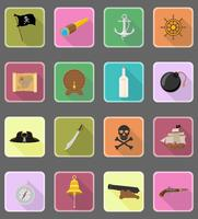 pirate icônes plates vector illustration