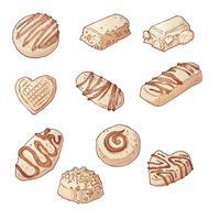 Définir des bonbons au chocolat. Illustration vectorielle Dessin à la main