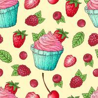 Modèle sans couture cupcakes fraise cerise framboise. Dessin à main levée. Illustration vectorielle
