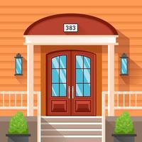 Porte d'entrée de la maison décorée par voie de garage