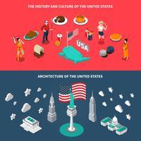 Attractions touristiques américaines 2 bannières isométriques