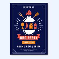 Vecteur d'affiche de fête barbecue