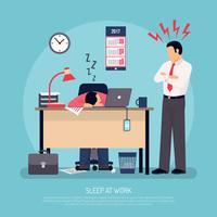 Affiche plate dormant au travail