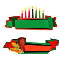 Kwanzaa Ribbon 2 Set de bannières colorées vecteur