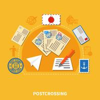 Illustration de style plat postcrossing