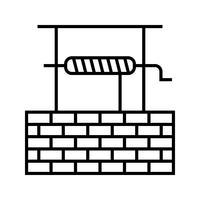 puits d'eau Line Black Icon