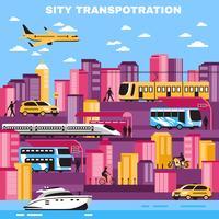 Illustration vectorielle de ville transport