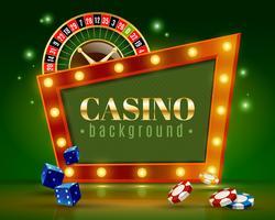 Affiche de fond vert de lumières festives de casino vecteur