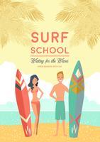 Affiche de l'école de surf vecteur