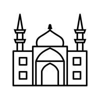 Ligne Mosquée Noir Icône