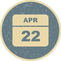 22 avril Calendrier d'une journée vecteur