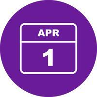 1er avril Date sur un calendrier d'une journée