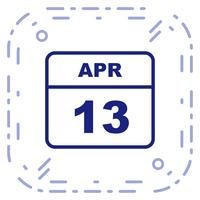 13 avril Date sur un calendrier d'une journée