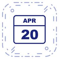 20 avril Calendrier d'une journée vecteur
