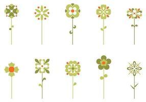 Ensemble de dix bouquets de fleurs rétro vecteur