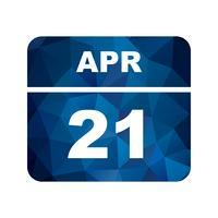 21 avril Date sur un calendrier à jour unique