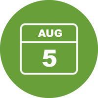 5 août Date sur un calendrier d'une journée vecteur
