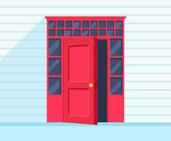 Porte ouverte rouge vecteur