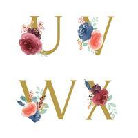 Collection de jeux de fleurs Alphabet doré, Bouquets de fleurs de pivoines roses et roses bleu-rouge, Conception pour faire-part de mariage, célébrer le mariage, Illustration vintage de Merci carte décoration vecteur