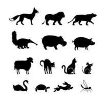 Pack de vecteur de silhouettes d'animaux deux
