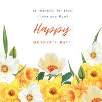 Aquarelle florale de jonquille et de fleurs de Magnolia Blooming fleur aquarelle florale, invitation enregistrer la date, mariage célébrer le mariage, Merci Illustration de conception de carte vecteur