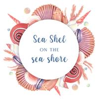 Coquille de mer Couronne vie marine été voyage sur la plage, aquarelle isolé, illustration vectorielle de conception Couleur corail à la mode vecteur
