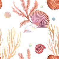 Motif de la vie marine coquille de mer transparente, été de vacances voyage sur la plage, textile aquarelle isolé, illustration vectorielle Couleur Corail. vecteur