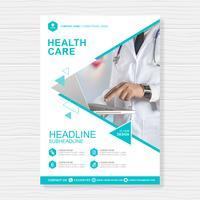 Healthcare cover modèle de conception a4 et icônes plats pour un rapport et une conception de brochure médicale, flyer, décoration de tracts pour illustration vectorielle vecteur