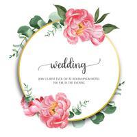 Pivoines roses couronnes aquarelles fleurs avec texte, aquarelle de fleurs isolé sur fond blanc. Décor de design pour mariage carte, affiche d'invitation, bannière.